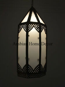 Handcrafted Moroccan Brass Ceiling light Fixture Hanging Lantern Lamp