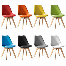 Jamie Tulip Dining Chair, Eiffel Inspired, Solid Wood ABS Plastic, Padded Seat