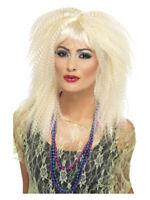 Ladies 80s Blonde Trademark Crimped Wig Adult Retro Fancy Dress Accessory