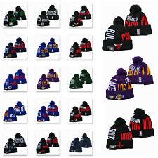 Embroidered All NBA Team Logo Pom Skull Beanie Cap Winter Warm Basketball Hat