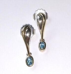 ! Gorgeous Designer High Quality 18K & 925 Sterling Aquamarine Dangle Earrings