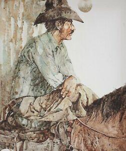 R. (Roszel) Scott, (American 1936-2016) Acrylic Painting portrait of Cowboy