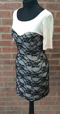 Baby Pink corset effect dress with black lace - New With tags  - Size 10