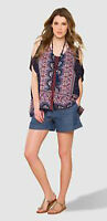 New Monsoon size S - XL Java  Batwing Navy Red Print Blouse Top