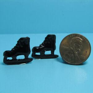 Dollhouse Miniature Sport Winter Pair of Black Ice Skates IM65531
