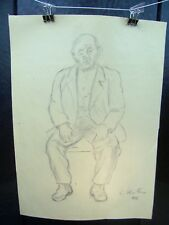 Old Man Sitting Portrait 1955 Original Pencil Sketch By C. Kelm