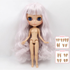 Tanned Skin Ivory Pink Hair Blythe Doll 30cm Joint Body 1/6 BJD
