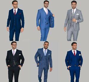 Mens Cavani Wedding 3 Piece Suit Formal Work Slim Fit Blazer Waistcoat Trousers