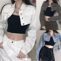 Lady Denim Jacket Cropped Top Coat Jacket Blazer Harajuku Punk Casual Sexy Short