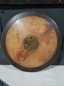 VINTAGE GILL DISCUS GREAT PATINA USE METAL WOOD INLAY OFFICIAL US TRACK & FIELD
