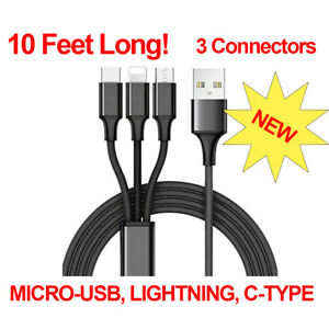 10 foot 3 in 1 USB Charging Cable for iPhone, Android, Type C, SUPER LONG