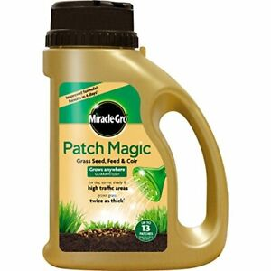 Miracle Gro Patch Magic Grass Seed Feed Fast Grow & Coir Lawn Garden Care 1015g