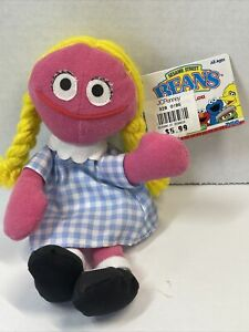 "TYCO Sesame Street BETTY LOU 7"" Bean Bag STUFFED ANIMAL Toy 1997 w/Tags"
