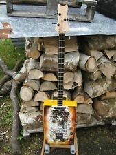 More details for handmade cigar box style guitar head of roses gothic art 3 string slide blues