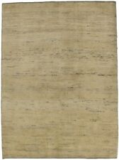 Plain Contemporary Beige 5X7 Tribal Gabbeh Hand Knotted Oriental Area Rug Carpet