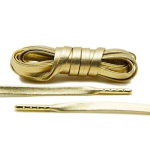 Gold Leather Shoe Laces Luxury Shoelaces for Sneakers W/ Gold Tips LACE ENVY