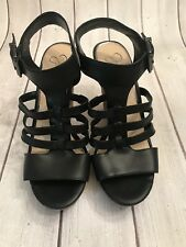Women Jessica Simpson Jhane Wedge Sandals, Size 9.5 Black JS-JHANE NWOB