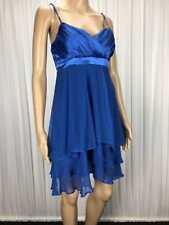 "** WISH ** BNWT $165 * Sz 8 Blue ""Avita"" Silk Ruffle Occasion Dress - (B193)"