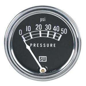 Stewart Warner 82207 Std 2-1/16 In. Oil Pressure Gauge, Mech, 0-50 PSI