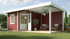 Weka Gartenhaus Designhaus 213 B Gr.2, 5-Eck, rot, 601 x 298 cm