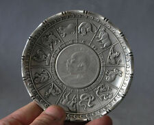 Old Chinese tibet silver Zodiac Animal statue money Coin wealth Plate NR