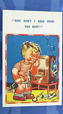 Vintage Comic Postcard 1930s Wireless Radio Set Repairs Theme