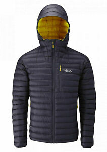 RAB Mens Beluga & Dijon Microlight Alpine Hooded Down Jacket Medium BNWT