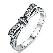 Silver Plated Sparkling Bow Knot Stackable Ring Elegant Women Wedding JewelryHGU