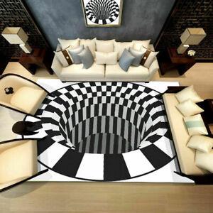 Non Slip Floor Door Mat 3 Living Room Rug Carpet Illusion 3D Printed Rectangle