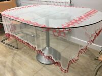 Vintage Table Cloth Cover Beaded Tulle Red White Embroidered Net Rectangular