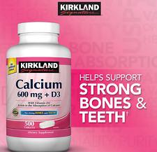 Kirkland Signature Calcium 600 mg + D3 for Strong Bones & Teeth 500 Tablets
