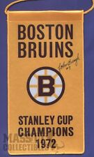 Johnny Bucyk Boston Bruins Autographed 1972 Stanley Cup Champions mini banner