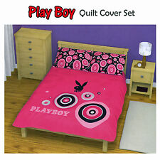 3 Pce Playboy Bunny Pink Black Quilt Doona Duvet Cover Set - KING