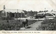 Vintage PC; Waiting Station & Bridge, Entrance to Como Park, St Paul MN, Trolley