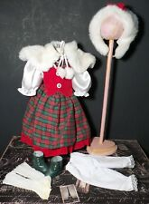 8 Piece Christmas Holiday faux Fur Dress Ensemble for Vintage or Artist Doll