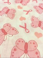 PINK RIBBON BREAST CANCER  100% COTTON FABRIC NEW QUILT FAT QUARTER #5