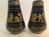 KE Salt & Pepper Shakers Hand Made In Greece in 24K Gold VERY NICE!
