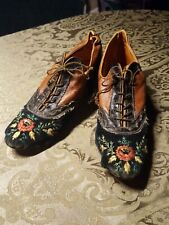 Antique Victorian 1800s Brown Leather Embroidered On Velvet Young Women'S Shoes