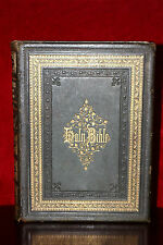 Antique Large 19th Century 'Holy Bible' in Leather Book Covers with Gold Trim