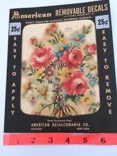 Vtg Roses Flowers Decal Transfer Decalcomania Shabby Home Interior