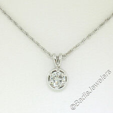 14k ORO BLANCO 48.3cm 0.28ct Redondo Brillante Corte Diamante Solitario