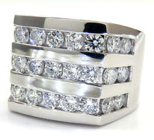 3.85ct Mens 14K White Gold 3 Row SI2 Diamond Wedding Band Pinky Ring