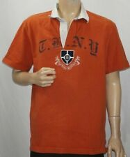 Tommy Hilfiger Rugby Shirt Short Sleeve Orange Brown THNY Spell Out Mens Large