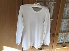 M&S White Cotton Blend Jumper Size 12/ 14 In Very Good Condition.