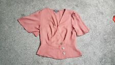 Primark rust Vintage Style Wrap Style Button Detail Peplum Top small 8
