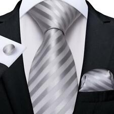USA Silver Gray Stripped Classic Silk Tie Set Mens Necktie Hanky Cufflinks Party
