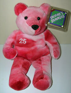 """Mark McGwire #25 MLB Tie Dyed Pink 1999 Salvino's Bammers Beanie Bear 8"""" w/ Tags"""