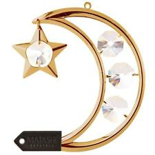 24K Gold Plated Crystal Studded Moon and Star Hanging Ornament by Matashi®