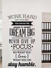 WORK HARD DREAM BIG STAY HUMBLE Removable Wall Decal Quote Stickers Decor Art
