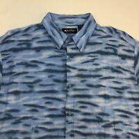 Puritan Button Up Shirt Men's Large Short Sleeve Blue Hawaiian Casual 100% Rayon
